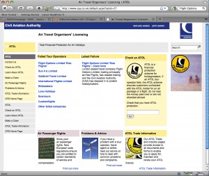 Το site της ΥΠΑ της Αγγλίας με τις ανακοινώσεις για τις πτωχευσεις tour operator