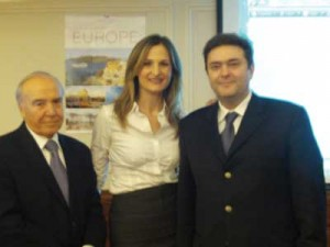 From left Mr. Kon/nos. Mitsiou, CEO Amphitrion Group of Companies,  Ms Natalie Papoutsoglou, Sales & Marketing Manager and Mr. George Paliouras, Managing Director Cruisexperts Hellas.