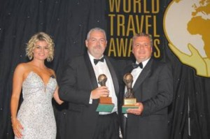 From left to right: host Ece Vahapoğlu; Francis Riley, vice president & general manager international, Norwegian Cruise Line and Christopher Frost, a member of World Travel Awards