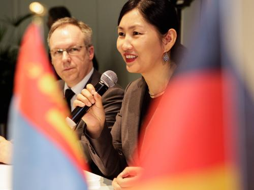 David Ruetz, Head of ITB Berlin Exhibition Director; H. E. Ts. Oyungerel Minister of Culture, Sports and Tourism of Mongolia (r.)
