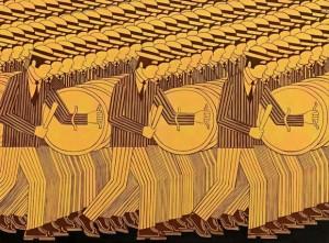 Γιάννης Γαΐτης. Οι Πολεμιστές. Λάδι σε μουσαμά. 98Χ130 εκ.