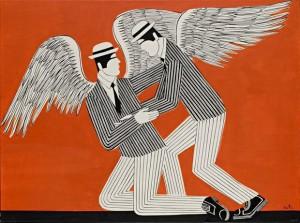 Γιάννης Γαΐτης. Πληγωμένος Άγγελος. 1980. Λάδι σε μουσαμά. 97Χ130 εκ.