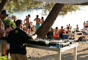 music party on the beach