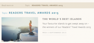 Reader's Travel Awards 2015