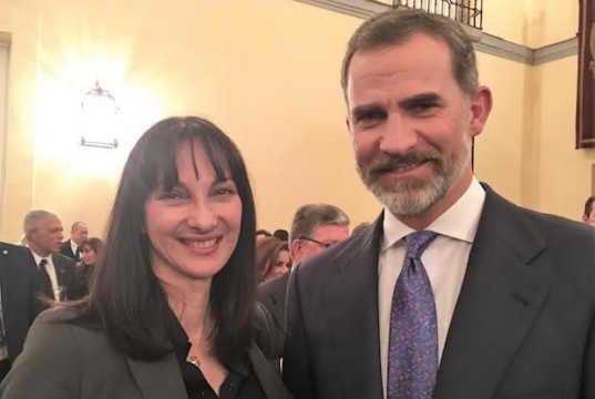 Tourism Minister Elena Kountoura and Spain's King Felipe VI