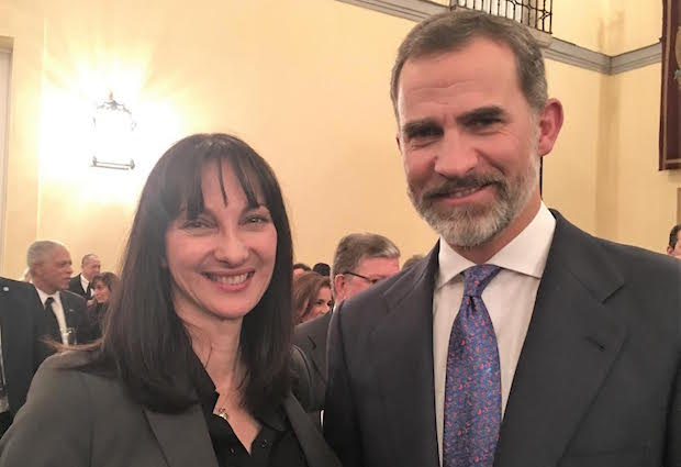 Tourism Minister Elena Kountoura and Spain's King Felipe VI
