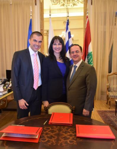 Η Υπουργός Τουρισμού, κα Έλενα Κουντουρά, με τον υφυπουργό Τουρισμού της Κύπρου, κ. Σάββα Περδίο, και τον Υπουργό Τουρισμού του Λιβάνου, κ. Avedis Guidanian.