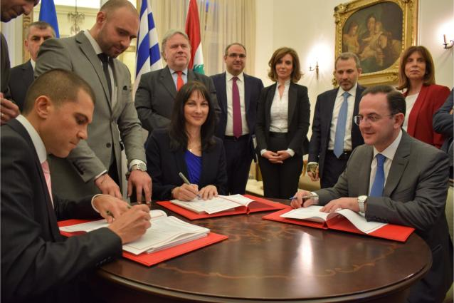 Συνυπογραφή της Κοινής Δήλωσης για την ίδρυση του Οργανισμού ISTO for P&P από την Υπουργό της Ελλάδας, κα Έλενα Κουντουρά, της Κύπρου, κ. Σάββα Περδίο, και του Λιβάνου, κ. Avedis Guidanian