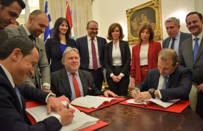 Υπογραφή της Κοινής Δήλωσης για την ίδρυση του Οργανισμού ISTO for P&P στη Βηρυτό από τους Υπουργούς Εξωτερικών της Ελλάδας, κ. Γιώργο Κατρούγκαλο, της Κύπρου κ. Νίκο Χριστοδουλίδη, και Λιβάνου κ. Gebran Bassil