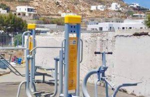 Ο Δήμος Μυκόνου τοποθέτησε όργανα άθλησης υπαίθριου χώρου στο δημοτικό στάδιο του Κόρφου
