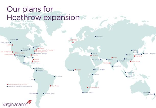 Virgin Atlantic reveals plans for 80 new routes at Heathrow