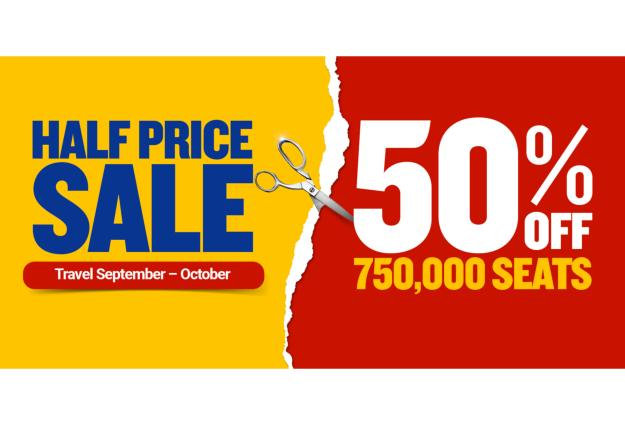 RYANAIR LAUNCHES 50% OFF OVER 750,000 SEATS