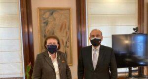 Συνάντηση της Υπουργού Πολιτισμού και Αθλητισμού Λίνας Μενδώνη με τον Υπουργό Εξωτερικών του Λιβάνου Charbel Wehbe